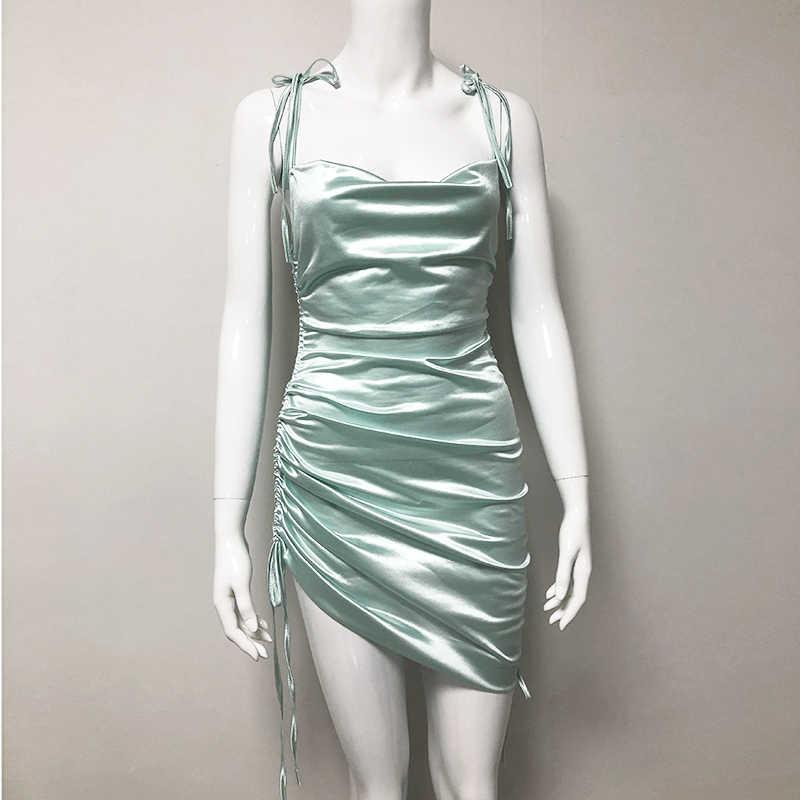 Женское платье со шнуровкой сбоку NewAsia Garden, соблазнительное коктейльное платье с хомутом, платье мини с оборками и шнуровкой для регуляции длины, лето 2019