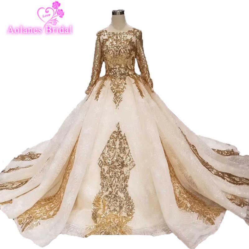 76292ccf 2019 New Design Custom Gold Glitter Lace Wedding Dress Elegant O Neck Long  Sleeves Saudi Arabian