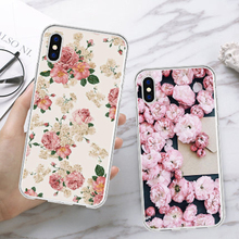 High Quality Plum Blossom Cherry Print Phone Cases For 6s 7 8 Plus Vintage TPU Soft Shell Case Back Cover iPhone X XS MAX XR