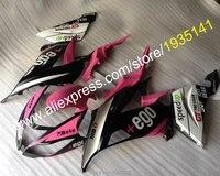 Hot Sales, Roze wit zwart kuipdelen kit Voor Kawasaki Ninja ZX636 13 14 15 ZX6R Stroomlijnkappen ZX-6R 2013-2015 ZX 6R (spuitgieten)
