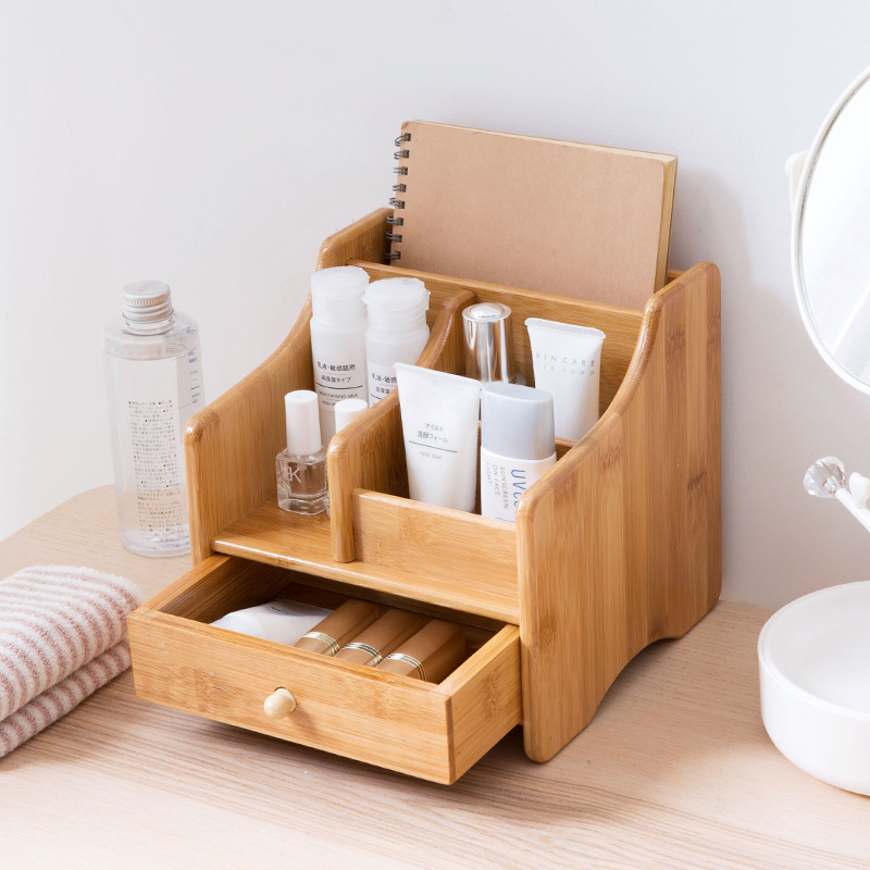 Wooden Storage Box Desktop Makeup Organizer Lipstick Jewelry Cosmetic Container Tissue Box Drawer Make Up Boxes Sundries Holder makeup organizer box