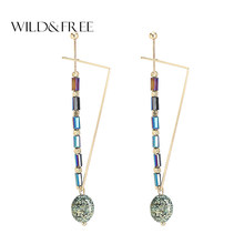 WILD & FREE Women Green Natural Stone Drop Earrings Vintage Gold Triangle Shape Pendant Earrings for Women Jewelry Gift(China)
