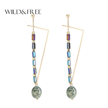 WILD & FREE Women Green Natural Stone Drop Earrings Vintage Gold Triangle Shape Pendant Earrings for Women Jewelry Gift