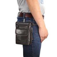 Genuine Leather Phone Case For Huawei Y6 Y5 Y3 Ii Honor 9 8 7X 6a 5a Casual Belt Waist Diagonal Double Pockets Hook Loop Bag 7.0