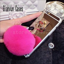 2016 Metal Rope golden Mirror phone Back Cover Capa gold chain rabbit fur ball pompom For apple iPhone 4 4s 4g 5 5s 5g Case