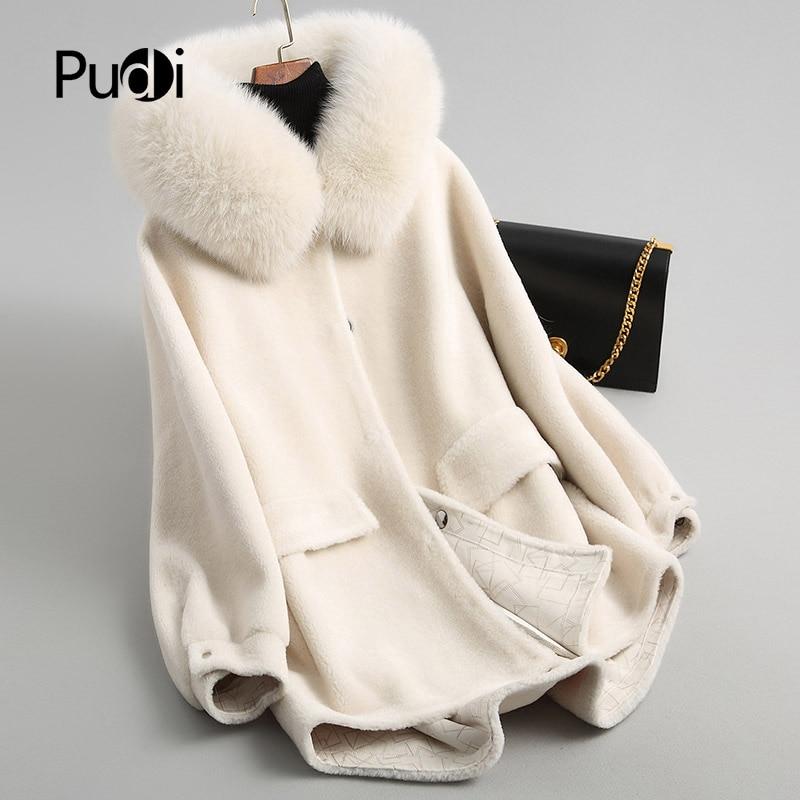 Pudi a18053 inverno quente das mulheres genuína lã de pele com gola de raposa real casaco senhora casaco jaqueta