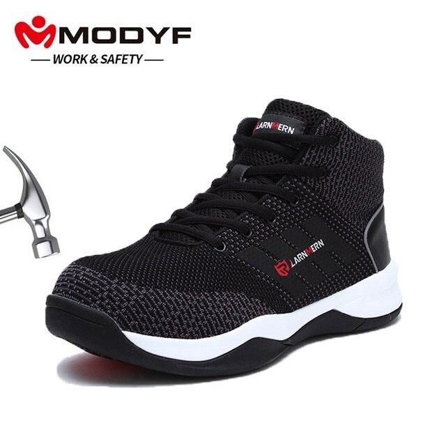 MODYF Мужская защитная Рабочая обувь со стальным носком для мужчин Flyknit дышащая легкая противоскользящая Светоотражающая защитная обувь
