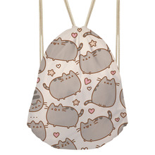 FORUDESIGNS Pusheen Cat Printing Drawstring Bag Women Backpack Children School Bags For Teenager Girls Cinch Mochila Escolar