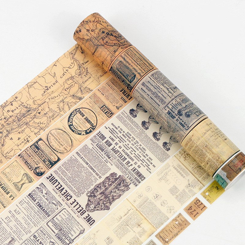 Creative Retro Newspaper Map Gothic Decorative Adhesive Tape Washi Tape DIY Scrapbooking Masking Tape Vintage Style 8m/11 Styles