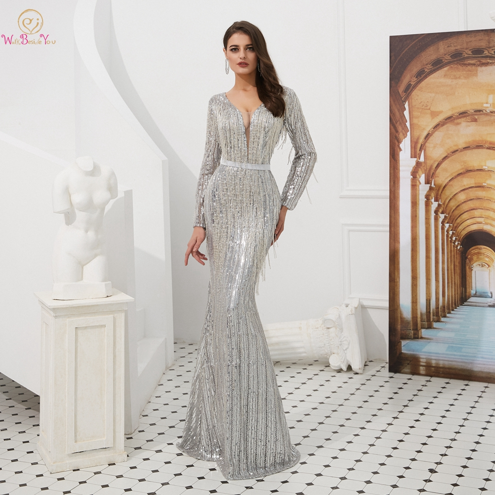Long Sleeve Gown   Evening     Dresses   Dubai Silver Sequined Tassel Women   evening   Party Mermaid Long Sheer Neck Walk Beside You 2019