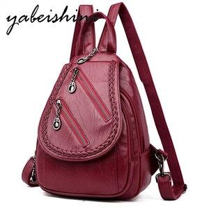 2019 Women's Vintage Leather Backpack Mochilas  Sac a Dos Ladies Shoulder Bag Student Bag Girl Travel Women's Backpack Preppy