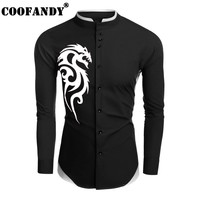 COOFANDY 2017 New Mens Casual Long Sleeve Patchwork Stand Collar Slim Print Shirt