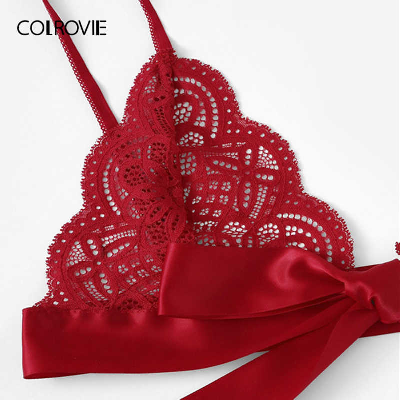 74bd11f093a0 ... COLROVIE Red Christmas Scalloped Trim Tie Side Sexy Lingerie Set 2019  Wireless Ribbon Intimates Transparent Underwear ...