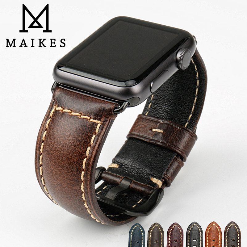 MAIKES Brown vintage genuine leather watch band black buckle watch accessories for apple watch strap 42mm 38mm iwatch watchbands maikes 18mm 20mm 22mm watch belt accessories watchbands black genuine leather band watch strap watches bracelet for longines
