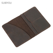 Passport Cover Holder Porta Credencial Credit Id Card Holder Coffee Natural Cowhide Real Leather Wallet Men Purse Thin Monedero