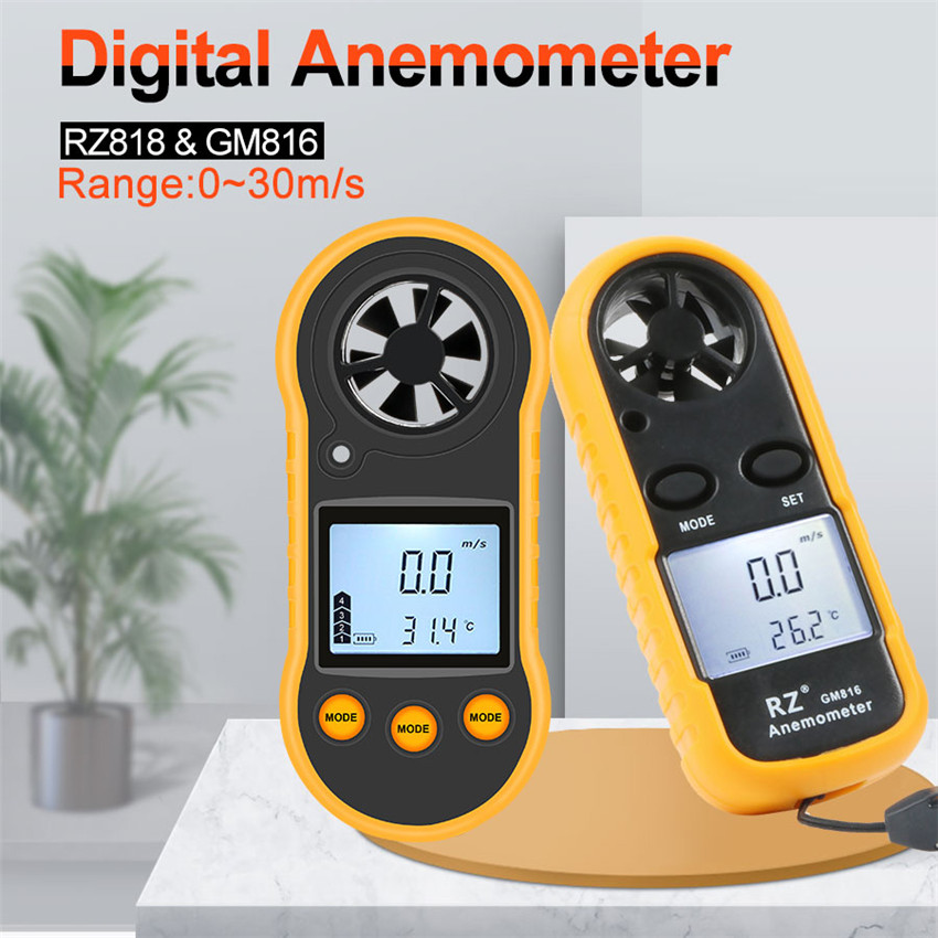 RZ 818 Portable Anemometer Anemometro Thermometer  GM816 Wind Speed Gauge Meter Windmeter 30m/s LCD Digital Hand-held   Tool