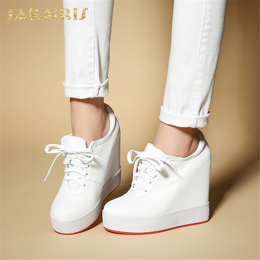 SARAIRIS 2018 Large Size 31-40 Cow Leather Lace Up Women Shoes Woman Increasing Heels Platform Vulcanize Woman Shoes