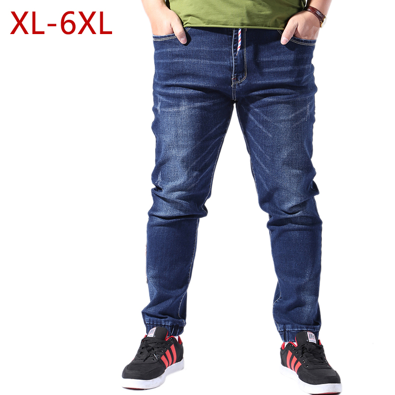 XL-6XL Plus Size Straight College Men Jeans Spring Autumn Male Classic Stretch Skinny Slim Fit Denim Pants Summer Thin Trousers