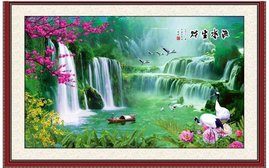 3d фото обои на заказ High end 3d фрески обои для стен 3 d побеги бамбука горы и туманов цветами и птицами Настенный декор