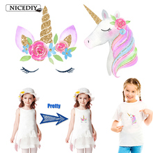 Nicediy Lovely Unicorn Patches Cartoon Patch For Clothing Sticker Kids T-shirt Heat Transfer Vinyl Washable