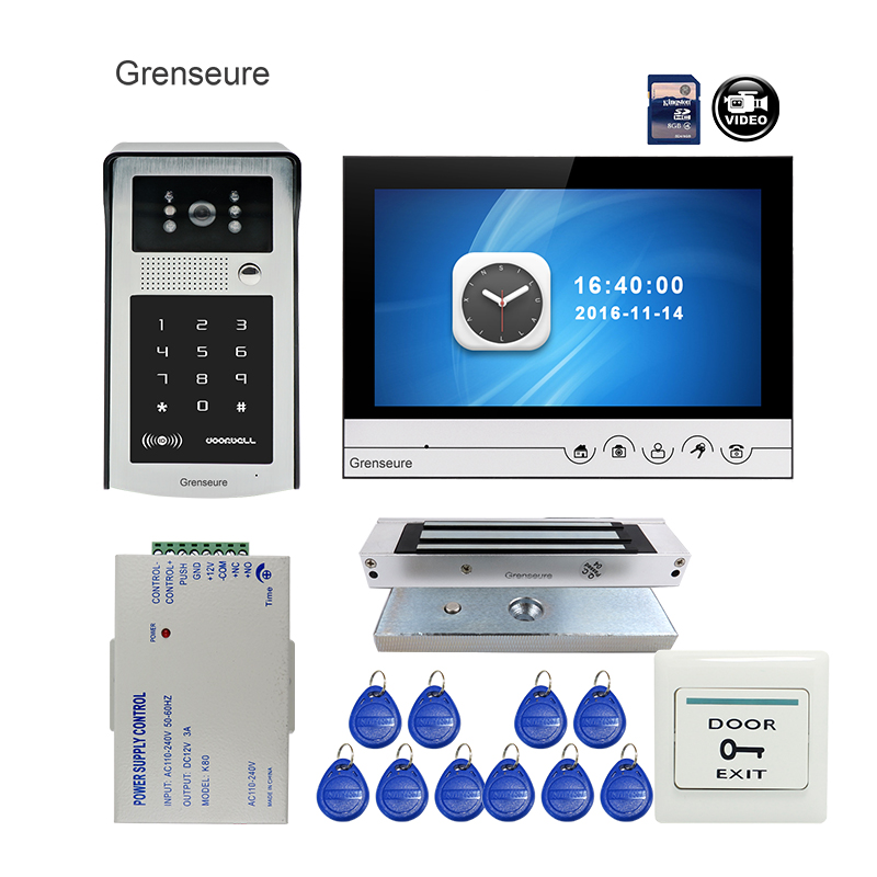 Free Shipping 9 Color Screen Video Door Phone Intercom Recording System RFID Code Keypad Outdoor Bell Camera + Magnetic Lock grenseure free shipping 9 lcd monitor video intercom door phone system rfid code keypad outdoor camera electromagnetic lock