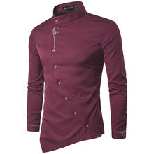 men shirts luxury cotton shirt irregular suit stylish dress shirts long sleeve tops embroidery male clothings  1089
