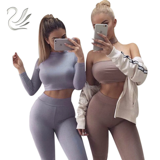 Autumn Rompers Womens Jumpsuit Long Sleeve Two Pieces Outfits Tight Party Bodycon Bodysuit Jumpsuits Sexy Overalls For Women