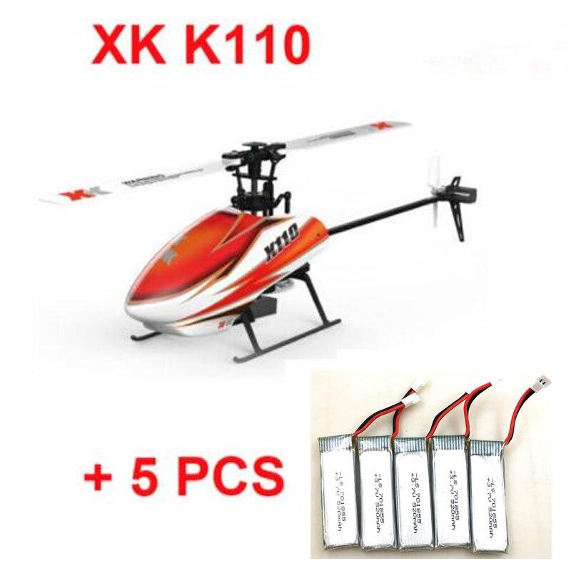 D'origine XK K110 BNF + 5 pièces Supplémentaire 520 batterie mah (sans émetteur) (Avec Chargeur) 6CH Brushless 3D 6G Système hélicoptère rc