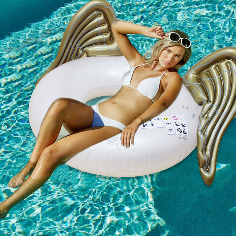 110cm Giant Golden Angel Wing Swimming Ring 2018 Sommer Oppustelig Pool Float Air Madras Lounger Water Party Legetøj boia