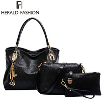 3 Pcs Set Elegant Women Messenger Bag Ladies Leather Pu Fashion Women s Handbags Shoulder Bag