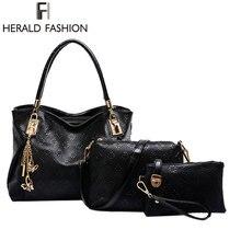 3 Unids Conjunto Elegante Mujeres Messenger Bag Ladies Bolsos de Cuero Pu de Las Mujeres de Moda Bolso de La Vendimia del Heraldo de La Moda