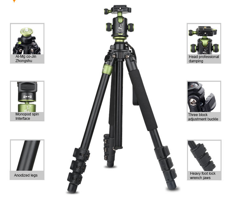 SYS400 Professional Portable Aluminum Tripod SYS-400 Monopod+Panoramic Ball Head Camera Tripod Stand For Canon Nikon Sony DSLR new qzsd q668 60 inch professional portable camera tripod for canon nikon sony dslr ball head monopod tripod stand loading 8kg