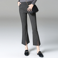 Women Pant 2017 Autumn Houndstooth Gracilaria Pants High Street Thick Open The Fork Trousers European Fashion