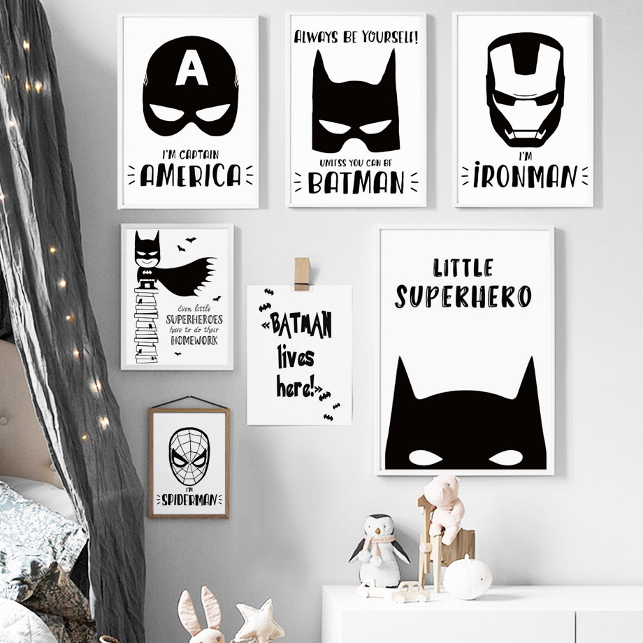 COLORFULBOY Modern Superhero Batman Canvas Painting For Kids Boy Room Black White Art Print Poster Wall Pictures Decor