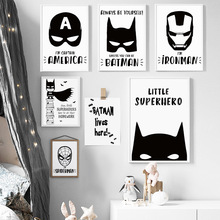 COLORFULBOY Modern Superhero Batman Spiderman Canvas Painting For Kids Boy Room Black White Art Print Poster Wall Pictures Decor