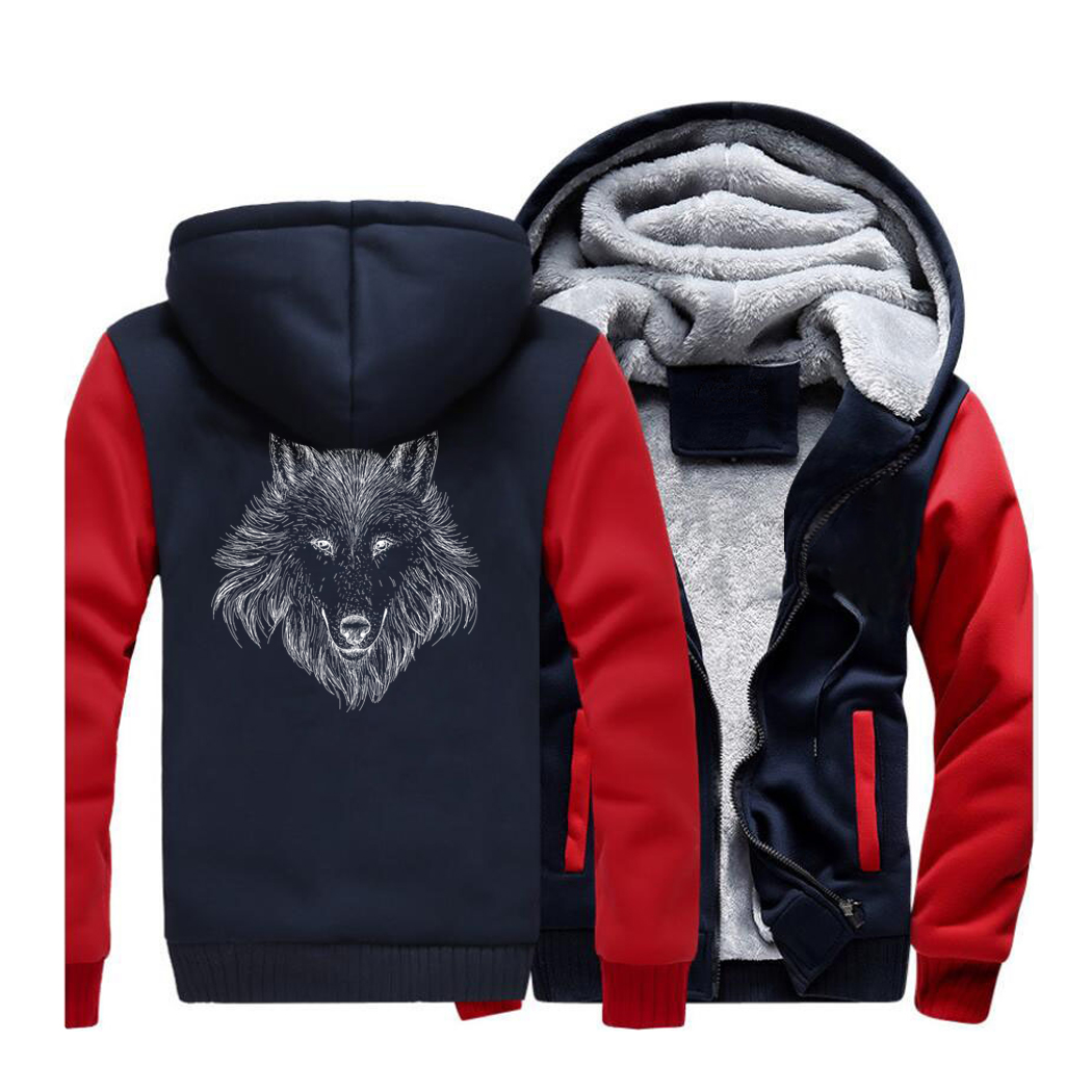 New Style Animal Wolf Men's Hoodies Sweatshirts Spring Winter Jackets 2019 Warm Fleece Mens Hooded Punk Swag Tracksuit CM01