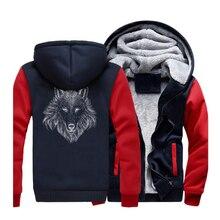 New Style Animal Wolf Mens Hoodies Sweatshirts Spring Winter Jackets 2019 Warm Fleece Hooded Punk Swag Tracksuit CM01