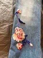 2019 сезон: весна лето новый для женщин брюки для девочек emboridery цветок джинсы