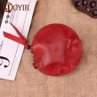 JOYIR Genuine Leather Women Coin Purses Mini Small Coin Wallets Kids Girls Cute Zipper Coin Pouch Round Key Pack Kawaii Wallet