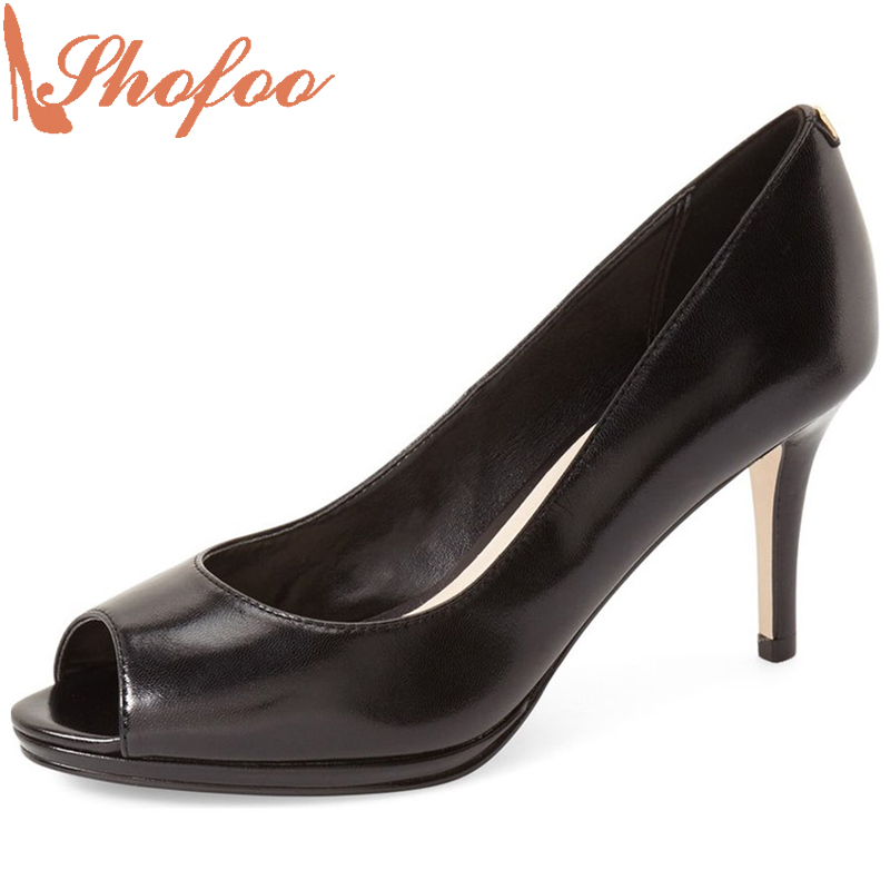 Shofoo 2017 Newest Women Mature Black High Heels Peep Toe Pumps Woman Dress&Party&Casual Slip-on  Shoes,Large Size 4-16  shofoo newest women shoes med heels pointed toe pumps for woman dress