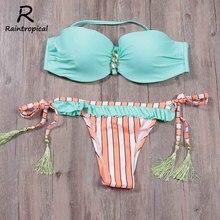 Raintropical Women Brazilian Bikini Set Sexy Low Waist Swimsuit Push Up Bikini Plus Size Swimwear Print Summer Bathing suits