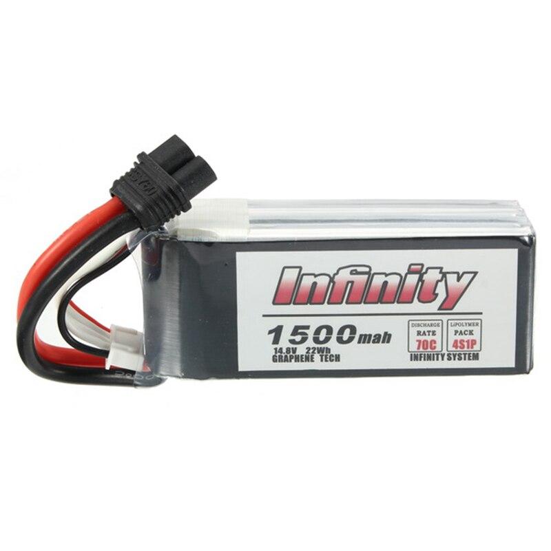1/2 uds para Infinity 4S 14,8 V 1500mAh 70C grafene LiPo batería recargable XT60 enchufe conector soporte cargador 15C