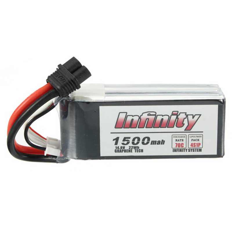 1 / 2PCS for Infinity 4S 14.8V 1500mAh 70C Graphene LiPo Battery Rechargeable XT60 Plug Connector Support 15C Boosting Charger