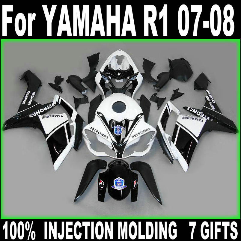 Injection molded fairing kit for Yamaha YZF R1 07 08 white black fairings YZFR1 2007 2008 gifts BD64