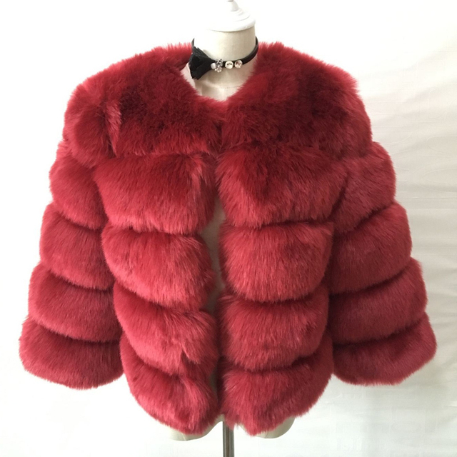 S-3XL Mink Coats Women 2018 Winter New Fashion Pink FAUX Fur Coat Elegant Thick Warm Outerwear Fake Fur Jacket Chaquetas Mujer 4