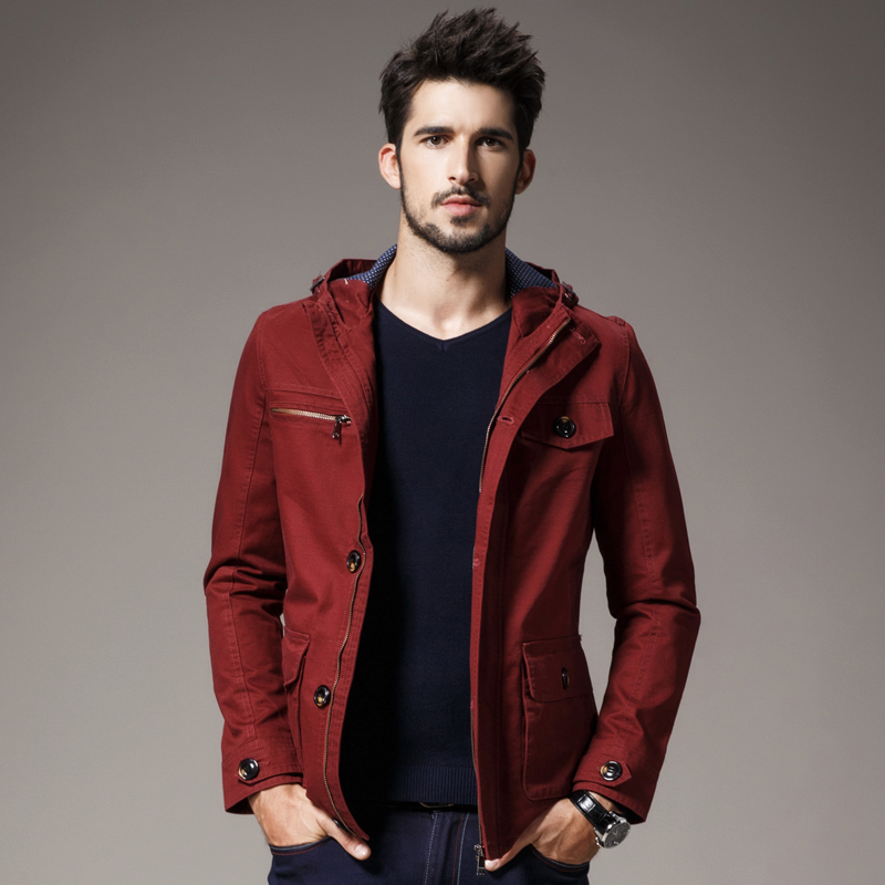2016 new men hooded jacket casual shirt Slim cotton jacket coat ...
