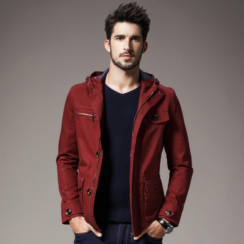 New Men Hooded jacket casual shirt Slim cotton jacket coat ...
