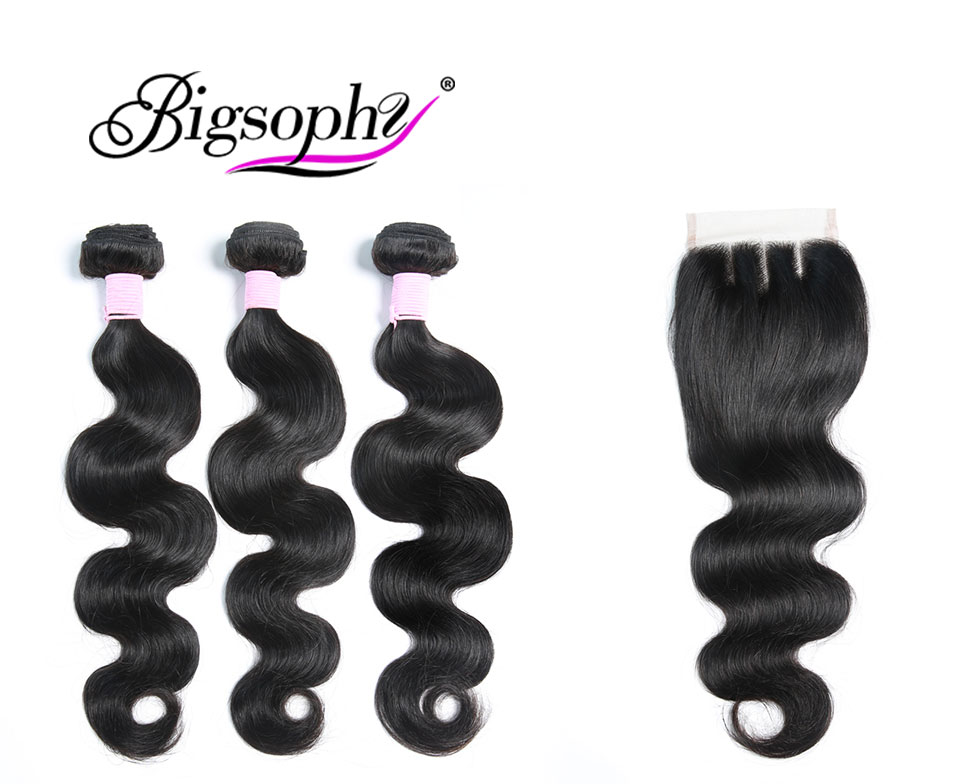 Brazilian Hair Body Wave 3 Bundles With Closure Human Hair weave bundles with frontal Lace Closure remy hair Extension BIGSOPHY (1)