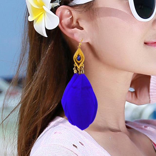 Gold Feather Earrings ( Black, White, Purple, Blue)