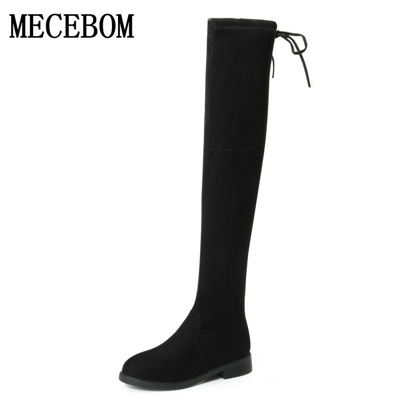 2018 fashion shoes brand autumn winter boots Stretch strap boots keep warm knee high boots women round toe down fur ladies 6523W